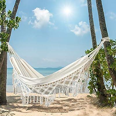 LALA IKAI hammocks for Trees, Balcony, Cafe, Bedroom, Hand-Woven Tassels Hammock Swing with Tree Strape Double Hammock 480lbs