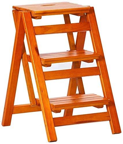 Reposapiés, escalera de escalada portátil multifuncional de madera maciza, hecho de madera maciza, fina y duradera, se puede utilizar como mesa de café, estantería, nogal, 3 capas de nogal y 3 capas