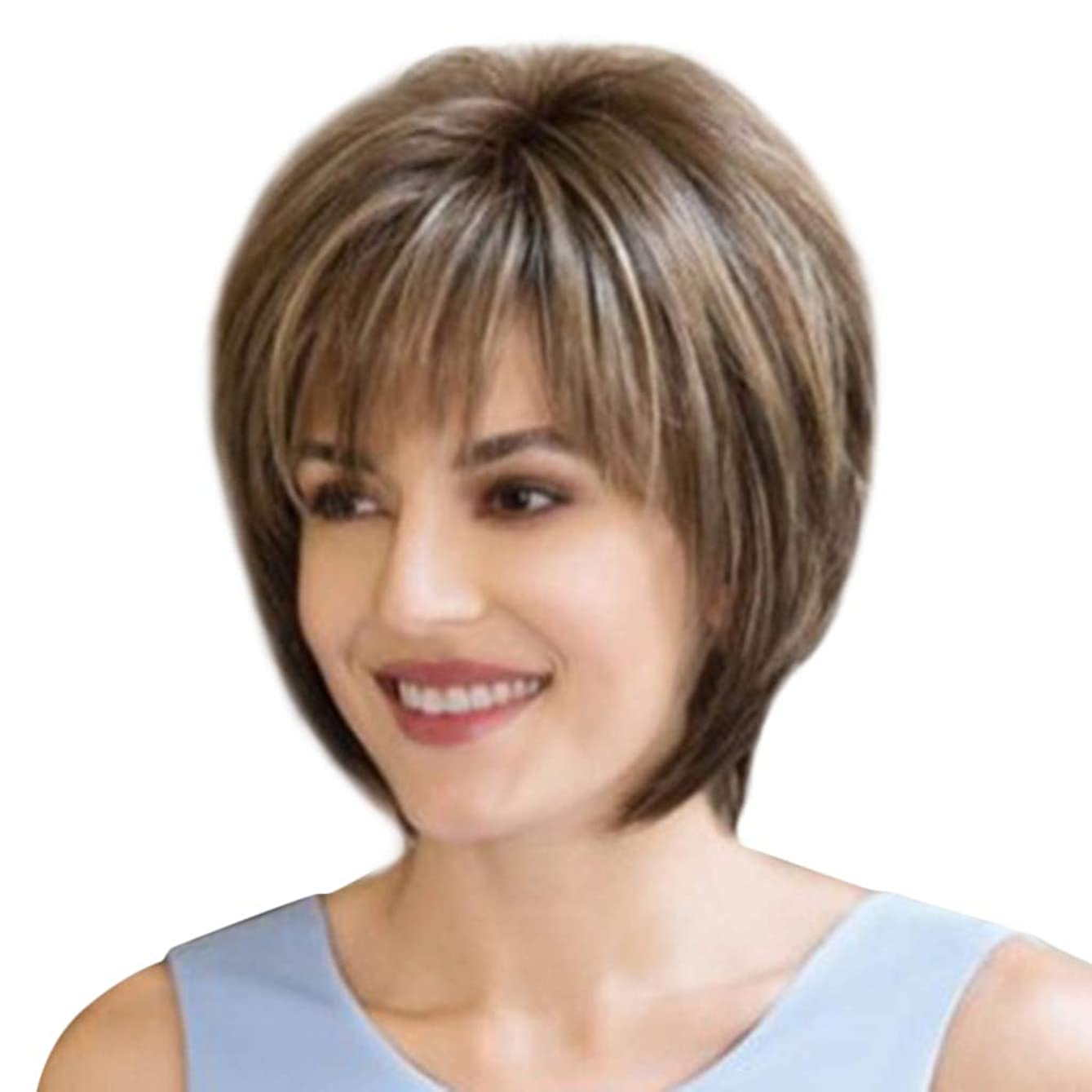 前部スイッチ汚染するCinhent 8インチファッション合成ストレートショートレディースウィッグふわふわ染色天然のリアルな髪の毛のかつら女性のファイバー