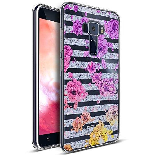 Kompatibel mit ASUS Zenfone 3 Hülle,Bunte Gemalte Mandala Blumen Transparent TPU Silikon Handyhülle Tasche Silikon Hülle Durchsichtig Schutzhülle für ASUS Zenfone 3 ZE520KL,Gestreifte Lila Blumen