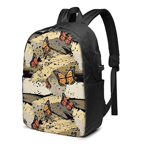 XCNGG Mariposas Travel Laptop Mochila College School Bag Mochila Informal con Puerto de Carga USB