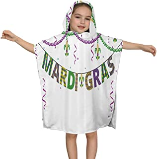 LiHomecurtain Toddler Hooded Beach Bath Towel Fleur De Lis Beads Kids Cover-up Poncho Cape for Bath Beach Swimming Soft, 23.7W by 47.3L Inches(with Hood)