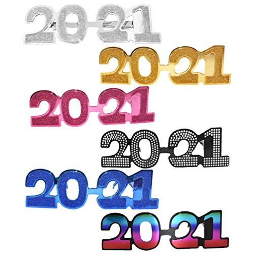ABOOFAN 6 Paia di Occhiali da Vista di Capodanno Glitter 2021 Occhiali da Vista Occhiali da Sole Novità Occhiali Celebrazione Favore di Festa Foto Puntello per 2021 Decorazioni per Feste