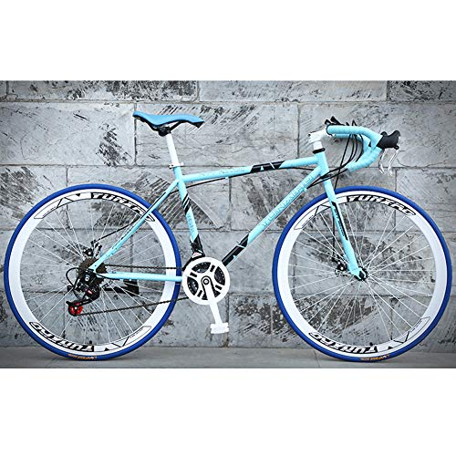 Adult Road Bike, 24 Speed 26-Inch, Men Racing Bicycle with Dual Disc Brake, High-Carbon Steel Frame Road Bicycle, Rider Height 165-185 cm (5.4-6 Feet),Blue