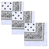 Patty Both Cotton Bandanas 3 Pack, Face Cover Neck Gaiter Scarf Sunscreen Breathable Bandana for Men Women Dogs (White)