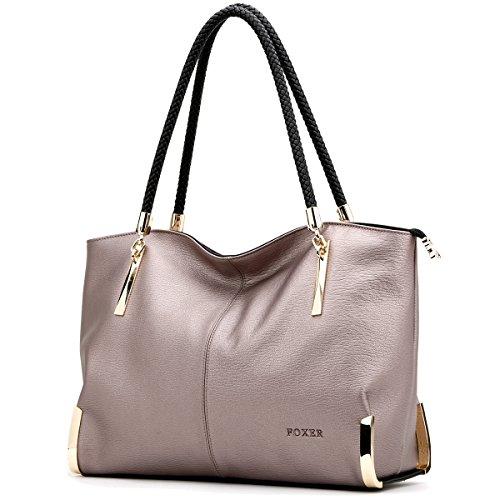 FOXER Large Leather Tote Handbags for Women, Split Cowhide Zipper Closure Ladies...