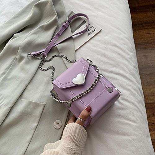 PANZZ Chain Box Crossbody Bags Women Summer Shoulder Handbags Female Travel Cross Body Bag, Purple, Mini