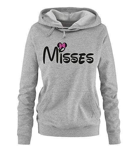 Comedy Shirts - Misses - Minnie - Damen Hoodie - Grau/Schwarz-Pink Gr. M