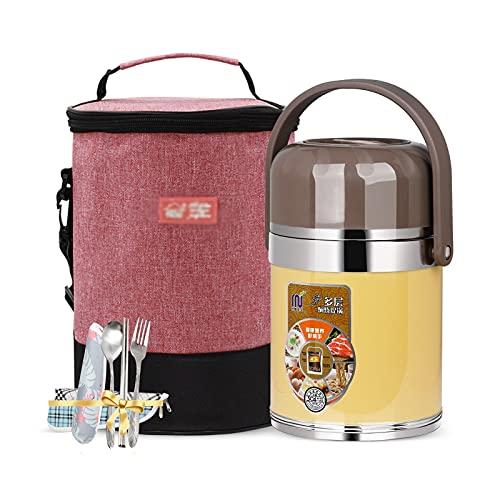 Vacuum Box in acciaio inox Bento aderente per le perdite di cibo termico 2L, scatola da pranzo isolata 3 tier con scomparti, scatola di bento adulto con stoviglie e sacchetto di pranzo isolato