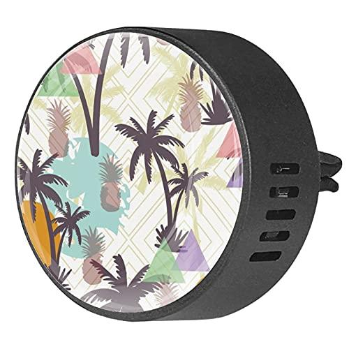 Difusor de coche para clips de ventilación de aceite esencial,Palmera de coco colorido ,2 paquetes de ambientadores de aromaterapia de 40 mm