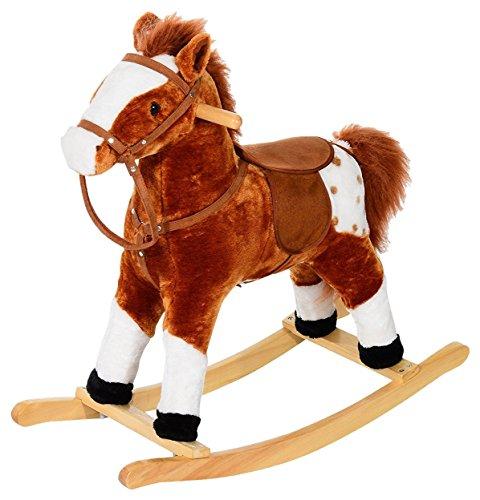 HOMCOM Schaukelpferd Kinder Schaukeltier Plüsch Schaukel Pferd Baby Schaukelspielzeug Geschenk für Kinder (braun)