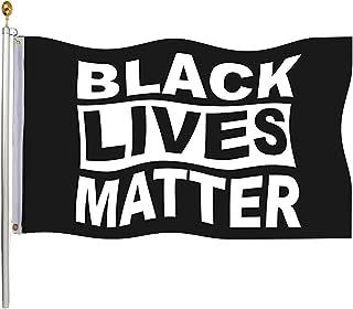 Homissor Black Lives Matter Flag 3x5 Outdoor- 100% Durable Polyester Black Pride BLM Flag Banner with 2 Grommets(Black)