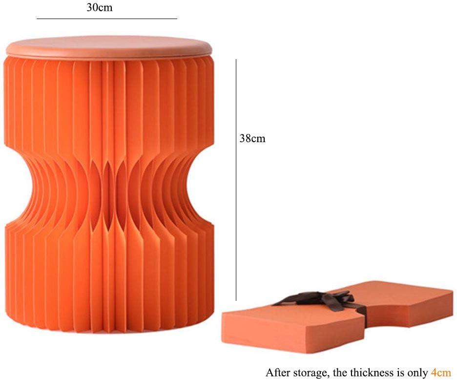 WZP-Tabouret Pliant Creative Kraft-Tabouret Double Usage Portable À Double Tour-Tabouret Rond Design De Mode-Chaise avec Coussin,38 * 30Cm,Disponible en Huit Couleurs,Orange Orange