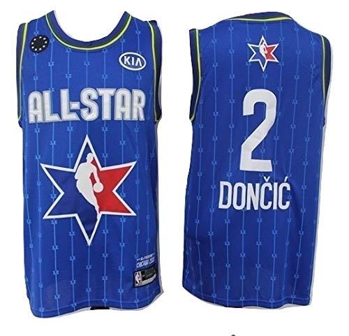 WOLFIRE WF Camiseta de Baloncesto para Hombre, NBA, Dallas Mavericks #77 Luka Doncic. Bordado, Transpirable y Resistente al Desgaste Camiseta para Fan (All-Star 2020, 2XL)