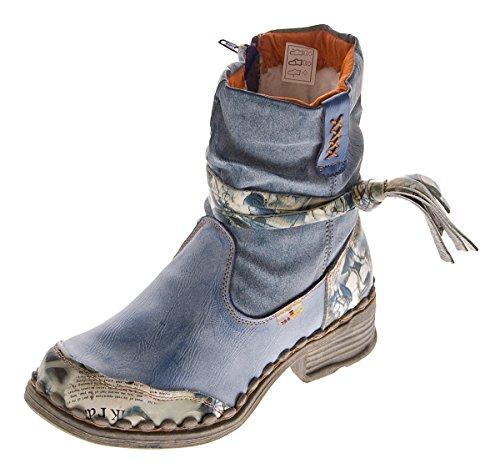 TMA Leder Damen Winter Stiefeletten Comfort Boots Knöchel Schuhe Blau 5050 Gefüttert Gr. 36