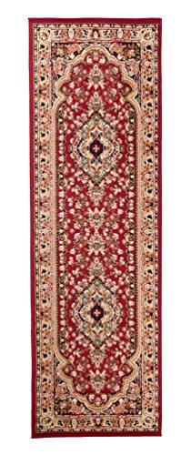 Carpeto Orientteppich Läufer Teppich Rot 80 x 200 cm Medaillon Muster Kurzflor Verona Kollektion