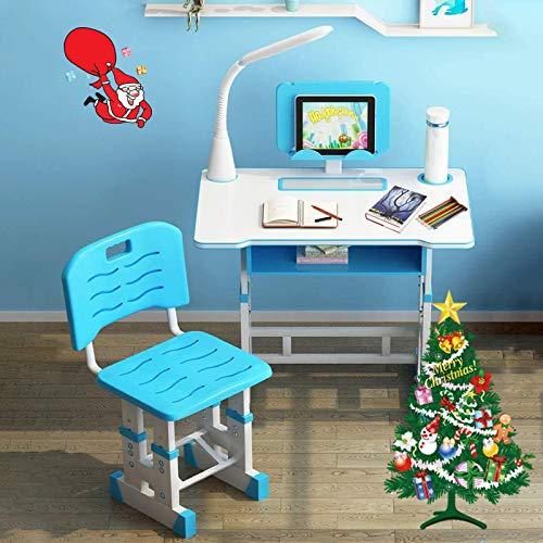 InLoveArts Kinderschreibtisch höhenverstellbar, Schreibtisch für Schüler, mit Schubladen/Bleistiftboxen/Bücherregalen/Augenlichtern/Leseständern/Orthesen/Wasserbechern (Blau)