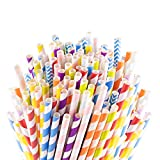 Sangabery 250-Pack Biodegradable Paper Straws - 10 Different Colors Rainbow Stripe Paper Drinking Straws - Bulk Paper Straws for Juices, Shakes, Smoothies, Christmas, Party Supplies Decorations