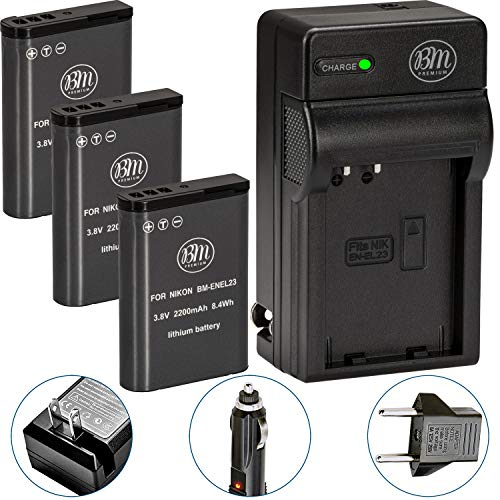 Pack of 3 BM Premium EN-EL23 Batteries and Battery Charger for Nikon Coolpix B700, P900, P600, P610, S810c Digital Camera