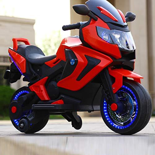 FP-TECH Moto ELETTRICA per Bambini Motocicletta 2 POSTI 12V con USB MP3 LED (Rosso)