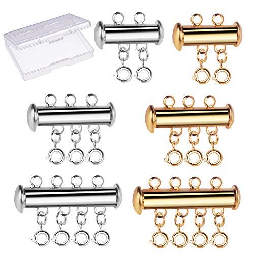 WXJ13 6 Stuks 3 Maten Plated Brass Armband Kettingen Slide Magnetische Buis Lock Sieraden Connectoren met een Plastic Container Gold and Silver