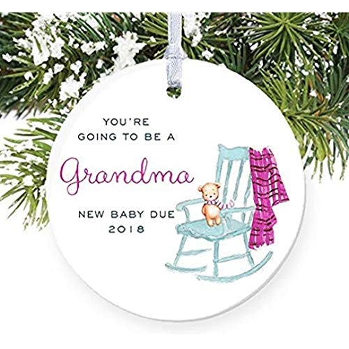 For367Walton You're Going To Be A Grandma Ornament in 2018, Pregnancy Reveal Christmas Ornament Mom from Pregnant Daughter Son In Law Announcement Ceramic Present 3' Flat Porcelain w/