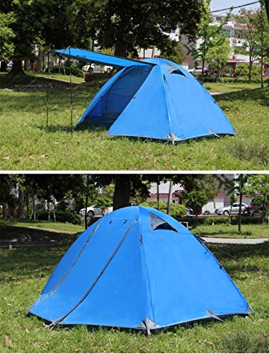 JX-ZHANGPENG Familie Dome Tent Outdoor 2-3 Persoon Dubbele Deur Dubbeldeurs Regendichte Camping Tent met Foyer, Geschikt voor Wandelen, Zelfrijdende Tour, Backpacker