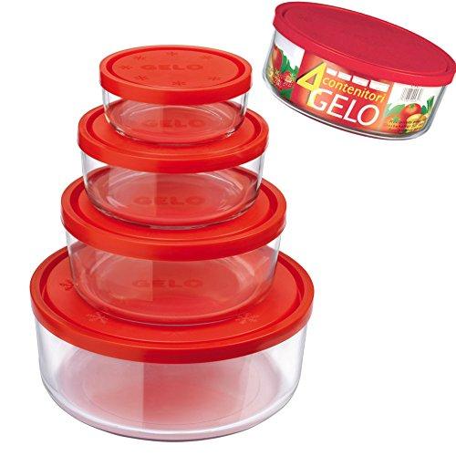 Set di 4 contenitori per Alimenti in Vetro tondi per conservare Frigorifero Freezer Bormioli Gelo