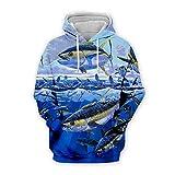 Men Women 3D Tropical Fish Printed Hoodie Long Sleeve Pullover Hooded Sweatshirts Tops Blouse K5 4XL