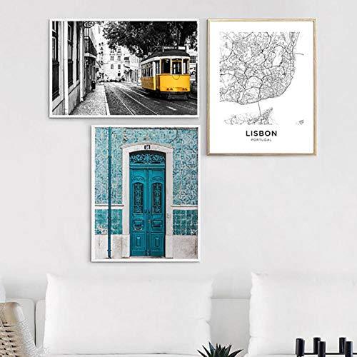 TANYANG Lissabon Portugal Stadtplan Poster Drucke Portugiesische Fliesen Blaue Tür Vintage Wandkunst Leinwand Malerei Stadt Fotografie Wohnkultur 40 * 60Cm*3