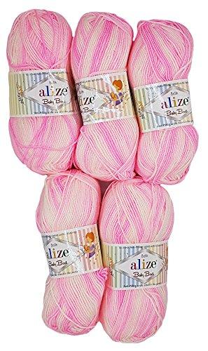 Alize Baby Best 5 x 100g Babywolle Batik mit 10% Bambus, 500 Gramm Wolle mit Farbverlauf Mehrfarbig (rosa weiß)