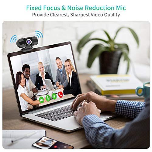 Aiglam Webcam HD 1080P, Webcam Full HD USB Kamera mit Mikrofon USB,H.264-Komprimierung Schnellere Uploads,für Video Chat Streaming(Black New)