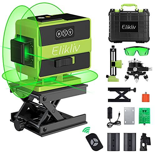 360 Laser Level Self-Leveling, Elikliv 3x360° 3D Green Beam 12 Lines Switchable Laser Level with Rechargeable Li-ion battery, Remote Controller, Three-Plane Leveling and Alignment, Portable Toolbox