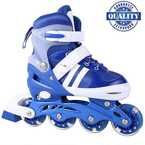 fiugsed Inline-Skates Rollschuhe Für Kinder, Canvas-Design Verstellbar Mit Leuchtenden Pu-Rädern Triple Protection Lightweight Inline Skates, Größenverstellbar Von 31 Bis 42