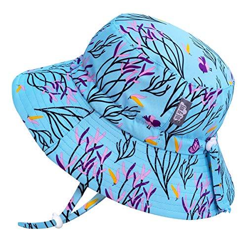 Jan & Jul UV Schutz Baby Mädchen Bade Sonnenhut, mit Riemen (S: 0-6 Monate, Frühlingsblumen)