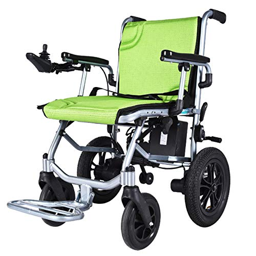 Electric Wheelchair, Lightweight Foldable Power Wheel Chair for Outdoor Home, Weighs Only 31 Lbs, Supports 220 Lb (Green)