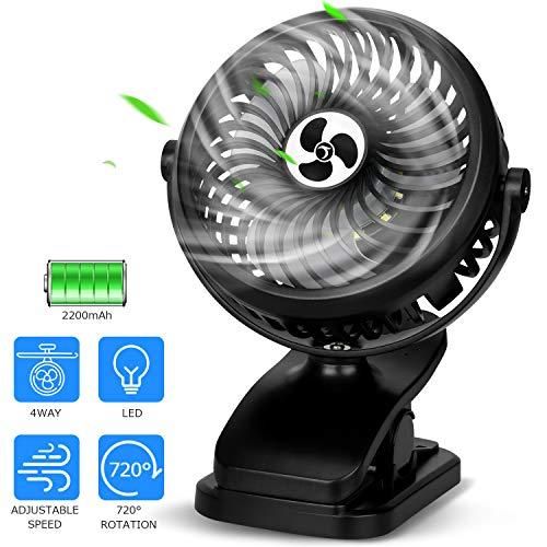 TDONE USB Fan Portable Fan with LED 11H of Usage Desk Fan Rechargeable Mini Fan Low Noise Personal Fan 3 Speeds Setting,Hook Fan, Clip on Fan for Desktop Table Tent Wall Stroller
