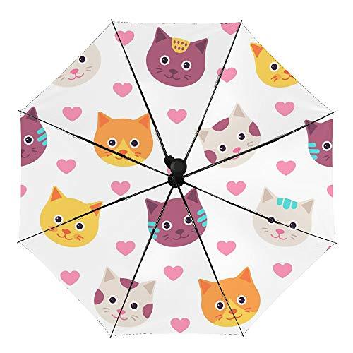Paraguas plegable manual anti-UV impermeable resistente al viento impresión interior exterior vinilo con caras de gato lindas paraguas paraguas cubierta para coche lluvia uso al aire libre