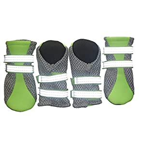 LONSUNEER Puppy Soft Sole Nonslip Mesh Boots 2 Reflective Straps Breathable Set of 4