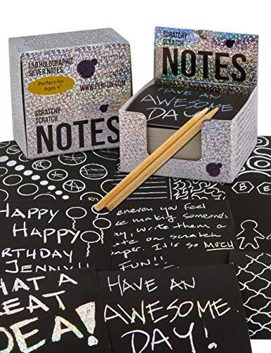 Purple Ladybug Novelty Scratch-Zettelblock mit 2 Holzstiften 150 St. schwarzes Kratzpapier mit silbernem Grund zum Schreiben, Zeichnen und Basteln | Papier für Notizen-, Glückwunschzettel u. v. m.