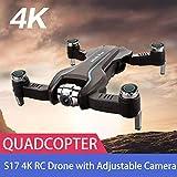 Quadricoptère 4k caméra,Bloomma quadricoptère pliable à quatre axes avec drone réglable S17 à zoom 50X de la caméra RC 4K HD WiFi FPV à flux optique, Quadricoptère de flux optique, meilleur cadeau