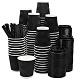 NYHI Set of 100 Black Disposable Paper Cups with Black Lids and Straws (10-oz) | Ripple Insulated Kraft for Hot Drinks - Tea & Coffee | Triple Layer Design | Eco- Friendly, Recyclable, Durable Paper