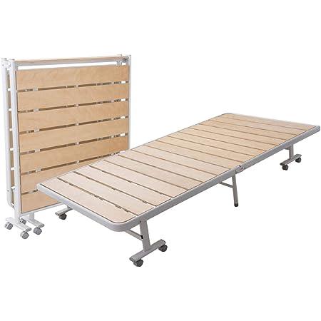 エムール ベッド すのこベッド 折りたたみベッド すのこ シングル 組立不要 耐荷重約200㎏ キャスター付き アッシュ