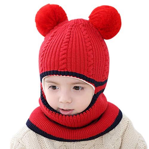 iTemer 1 Pieza Lindo otoño e Invierno de Punto Lana para niños Sombrero Babero un frío Invierno cálido Traje Bufanda Sombrero Adecuado para niños de 2-5 años de Edad Rojo
