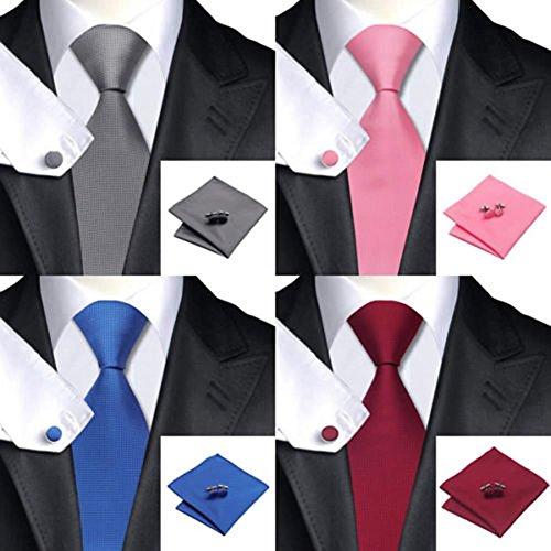 VIccoo Corbata de Seda Tejida Handmade Mens Tie Gemelos y pañuelo ...