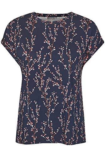 fransa Damen T-Shirt Kurzarm mit Alloverprint, Größe:L, Farbe:Blau (Flower Navy Blazer 69466)
