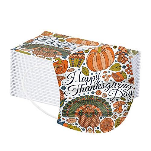MEITING 50PC Erwachsene Mundschutz Cartoon Schmetterling/Weihnachten/Thanksgiving Muster Waschbares 3-lagiger Gesicht,Wiederverwendbares,Atmungsaktives Staubdichtes Stirnband für Damen Herren