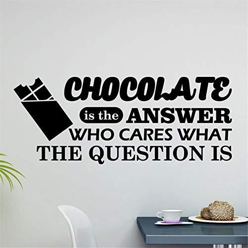 Vivityobert Setuis Quotes Art Decals Vinyl Verwijderbare Muurstickers Muursticker Chocolade is Het antwoord Wie geeft Wat De vraag is Muurstickers voor Keuken Eetkamer Bakkerij