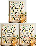 Flag Tapestry - Take It Easy, Grow Where You Are Planted & Treat People With Kindness - Bohemian Cotton Printed Hand Made Wall Hanging Tapestries with Steel Grommets, Beige, Pack of 3