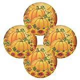 Juego de 4 manteles individuales redondos con diseño de calabaza, diseño de girasol, otoño y hojas d...